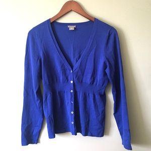 Ann Taylor Sweaters - Ann Taylor Silk Blend Button Front Blue Cardigan